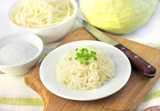 Sauerkraut on white plate Stock Photo