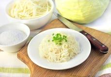 Sauerkraut on white plate Stock Photo