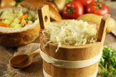 Sauerkraut in a wooden barrel