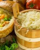 Sauerkraut in a wooden barrel Stock Image