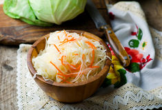 Sauerkraut in a wooden bowl. Style rustic. selective focus Royalty Free Stock Image