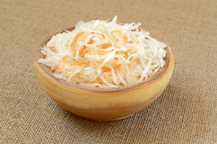 Sauerkraut in wooden bowl Stock Photos
