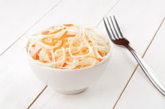 Sauerkraut on wooden table Royalty Free Stock Photography