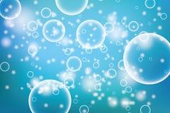 Sauerstoff sprudelt im blauen Hintergrund des Wassers für die wissenschaftlichen und biologischen Konzepte Transparenter Kreis, B stock abbildung