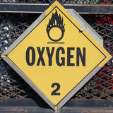 Sauerstoff-Warnzeichen Lizenzfreies Stockfoto
