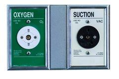 Sauerstoffeinatmung im Krankenhauszimmer Stockbild
