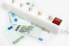 Sauf l'argent avec l'économie d'énergie Photo stock
