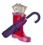 Sauf l'argent pendant un jour pluvieux Photographie stock