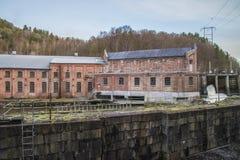 Saugbrugs造纸厂(Skonningfoss能源厂) 免版税库存图片