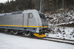 Timber transport to saugbrugs. Saugbrugs is a large paper mill in Halden, Norway and need lots timber to produce paper. The image of the train and wagons are Royalty Free Stock Images