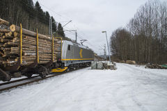 Timber transport to saugbrugs. Saugbrugs is a large paper mill in Halden, Norway and need lots timber to produce paper. The image of the train and wagons are Stock Photo