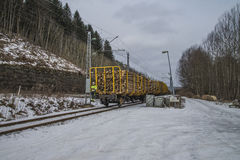 Timber transport to saugbrugs. Saugbrugs is a large paper mill in Halden, Norway and need lots timber to produce paper. The image of the train and wagons are Royalty Free Stock Image