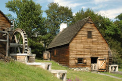 Saugus Ironworks Waterwheels. Historic Iron mill in new England waterwheel on summer day royalty free stock images