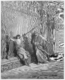 Saul and David. Picture from The Holy Scriptures, Old and New Testaments books collection published in 1885, Stuttgart-Germany. Drawings by Gustave Dore stock illustration