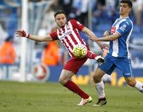 Saul Niguez of Atletico Madrid and Gerard Moreno of RCD Espanyol Stock Photo