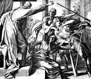 Saul Tries om David te doden Stock Afbeeldingen