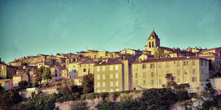 Sault. Beautiful Medieval Village of Sault at sunset time, Provence, France. Filtered image, vintage effect applied Stock Photo