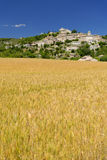 Sault at harvest time. View of Sault commune, Vaucluse, Provence, France with the church on the hill top surrounded by historic houses viewed over a golden Stock Images