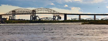 Sault Ste Marie ,Ontario,  Canada. The Sault Ste. Marie International Bridge spans the St. Marys River between the United States and Canada connecting the twin Stock Photos