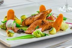 Saumons avec de la salade de légumes sur le plat blanc Photographie stock libre de droits