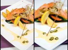 Saumons avec des champignons de couche photo libre de droits