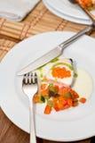 Saumons avec le caviar rouge Photographie stock