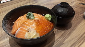 Saumons et riz Photographie stock