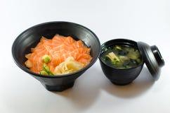 Saumons frais japonais sur le fond blanc Images libres de droits