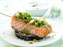 Saumons grillés photo stock