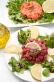 Saumons, thon et espadons tartares Image libre de droits