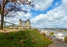 Saumur castle on Loire river (France) spring view. Stock Photo