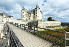 Saumur castle on Loire river (France) spring view. royalty free stock photography