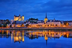 Saumur. Over Loire river at blue hour, Pays-de-la-Loire , France