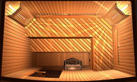 Sauna. Wooden steam room in sauna. 3D illustration. Top view Stock Images