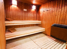 Sauna. A classic wooden sauna inside royalty free stock photo