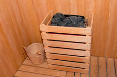 Sauna. Constructed with natural wood and stone royalty free stock image