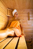 Sauna 2. A young woman in the sauna Royalty Free Stock Photography