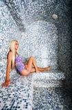 In a sauna Stock Photo