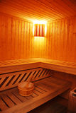 Sauna. Nice and warm interior of wooden sauna Stock Photo
