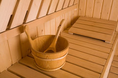 Sauna. Wooden steam room in sauna Royalty Free Stock Photos