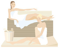Sauna. Two ladies in the sauna Stock Illustration