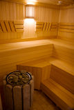 Sauna. Interior of wooden finnish sauna with cedar bench stock photo