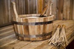Sauna, accesorios del baño Fotos de archivo libres de regalías