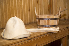 Sauna, accesorios del baño Imagen de archivo