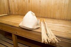 Sauna, accesorios del baño Imagen de archivo libre de regalías