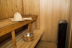 Sauna, accesorios del baño Foto de archivo