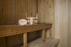 Sauna, accesorios del baño Foto de archivo libre de regalías
