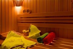 sauna Accesorios del cuarto de baño: cubo, cuchara Fotos de archivo
