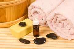 Sauna accessories. On bamboo mat Stock Images