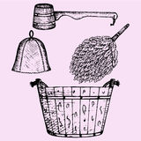Sauna accessories. Broom, wooden bucket, hat and wooden scoop, doodle style, sketch illustration, hand drawn, vector Stock Photography